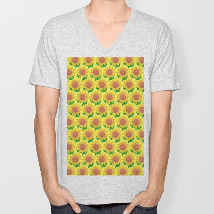 Sunflower Pattern_B Unisex V-Neck