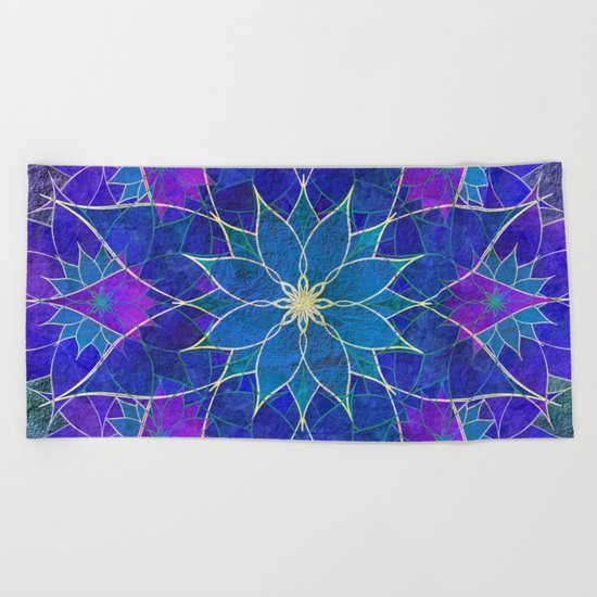 Lotus 2 - blue and purple Beach Towel