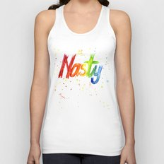 Nasty Woman Rainbow Watercolor Text Unisex Tank Top