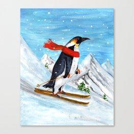 Penguin Alpine Skiing Canvas Print