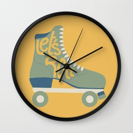 Retro Let's Roll Skate- Green and Yellow Wall Clock