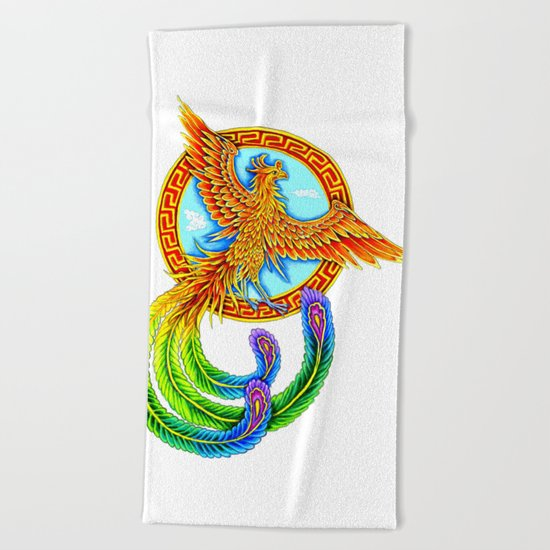 Chinese Vermilion Bird Beach Towel
