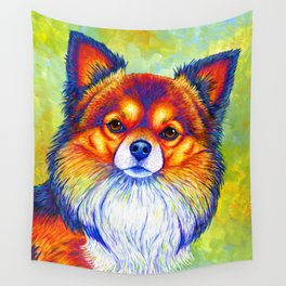 Colorful Long Haired Chihuahua Dog Wall Tapestry