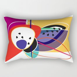 Abstract composition of superimposed geometric shapes, exotic fruits, bright colors Rectangular Pillow