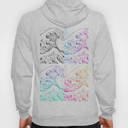 The Great Wave Sketch Color Block Collage Hoody