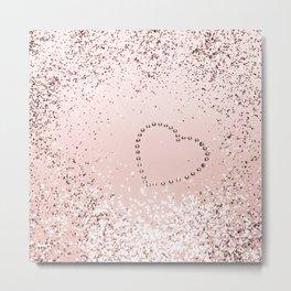 Sparkling ROSE GOLD Lady Glitter Heart #5 #decor #art #society6 Metal Print