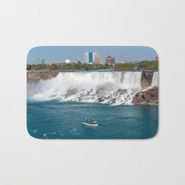 Boat and American Falls from Niagara Falls - Ontario, Canada Bath Mat
