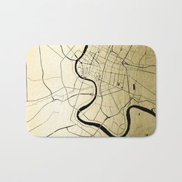 Bangkok Thailand Minimal Street Map - Gold Metallic and Black Bath Mat