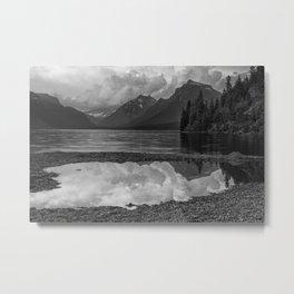 Lake McDonald Sunset in Black and White Metal Print
