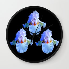 PASTEL BLUISH WHITE IRISES Wall Clock