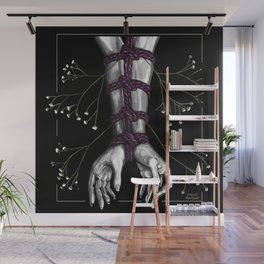 Shibari Arms with Flowers Wall Mural