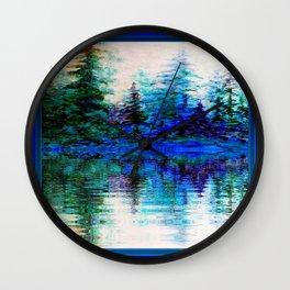 BLUE SCENIC MOUNTAIN PINES LAKE REFLECTION ART  PATTERNS Wall Clock