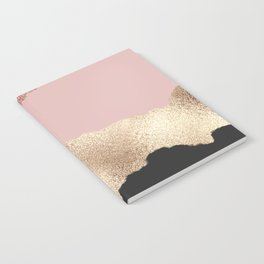 Rose Gold Glitter Black Pink Abstract Girly Art Notebook