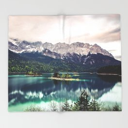 Green Blue Lake and Mountains - Eibsee, Germany Throw Blanket