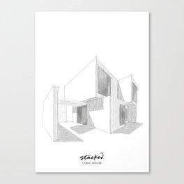 Cubic House No.1 - minimalist architecture - sketch art Canvas Print