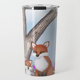 fox, cubs and tufted titmice Travel Mug