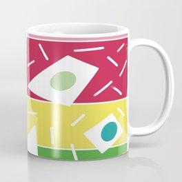 Summer garden geometric stripe pink red green  Coffee Mug