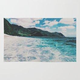 Hawaii Pacific Ocean Surreal Coast (Painting) Rug