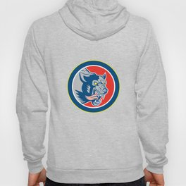Angry Wolf Wild Dog Head Circle Retro Hoody