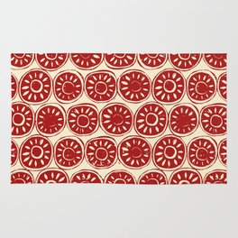 flower block red ivory Rug
