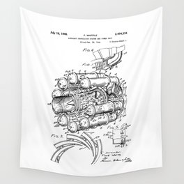 Jet Engine: Frank Whittle Turbojet Engine Patent Wall Tapestry