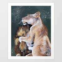 cuddle Art Prints featuring CUDDLE. by AnnMarie Dione