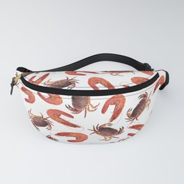 crab shrimps pattern white Fanny Pack