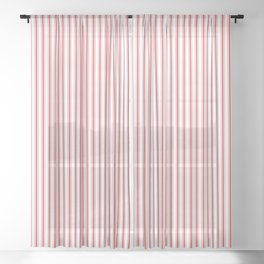 Mattress Ticking Narrow Striped Pattern in Red and White Sheer Curtain