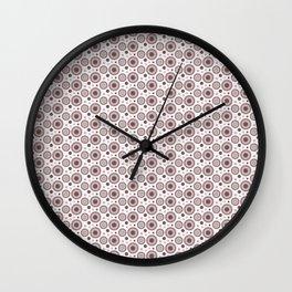 Pantone Red Pear Polka Dots and Circles Pattern on White Wall Clock