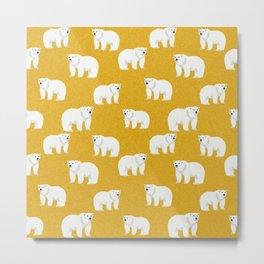Polar Bear pattern cute animals print for kids room decor boys and girls nursery Metal Print