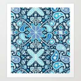 Pysanky Paisley Floral in Blue Art Print