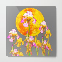 IRIS GARDEN & RISING GOLD MOON  IN GREY SKY Metal Print