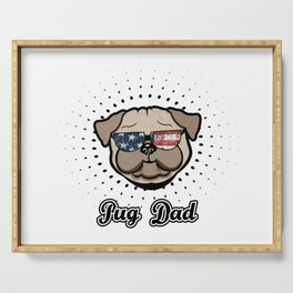 USA Pug Dad cool Dog Stars and Stripes Serving Tray