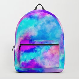Modern hand painted neon pink teal abstract watercolor Backpack