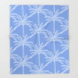 Palm grove - blue Throw Blanket