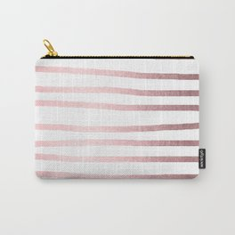 Simply Drawn Stripes Rose Quartz Elegance Carry-All Pouch