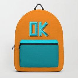 """""""OK"""" 3D Letters (Orange, Light Teal Blue) Backpack"""