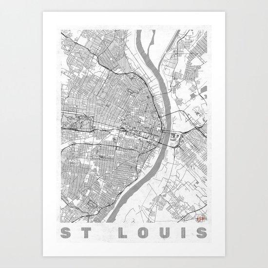 St Louis Map Line Art Print