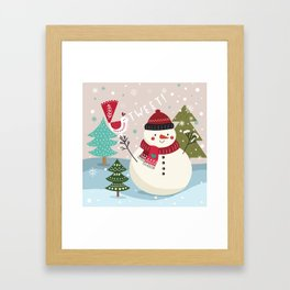 The Sweet Song Of Winter Friends Framed Art Print