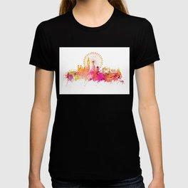 London skyline map city pink T-shirt