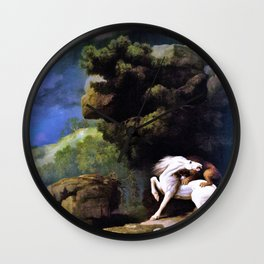 A Lion Attacking A Horse - George Stubbs Wall Clock