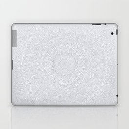 The Most Detailed Intricate Mandala (Light Gray) Maze Zentangle Popular Trending Pattern Design Laptop & iPad Skin