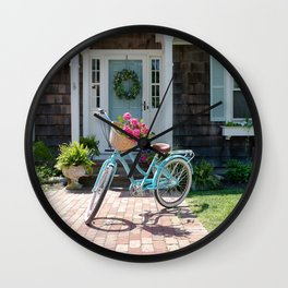 Retro Turquoise Bike with Roses Wall Clock