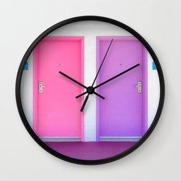 Pink and Purple Doors Wall Clock