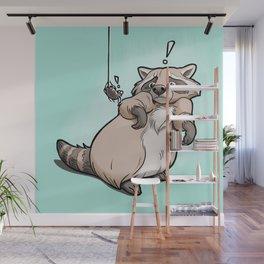 Yoikes! Raccoon Meets Spider Wall Mural