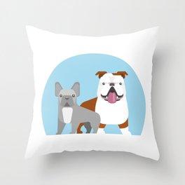 Bulldog love Throw Pillow