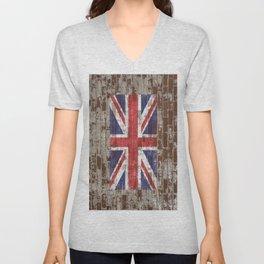 UK National Flag United Kingdom Union Jack on Brick Unisex V-Neck