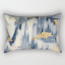 Blue and Gold Ikat Pattern Abstract Rectangular Pillow
