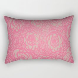 Hot Pink Rose Bed Print Rectangular Pillow