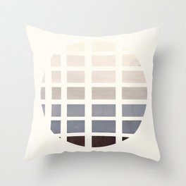 Watercolor Grey Minimalist Mid Century Modern Square Matrix Geometric Pattern Round Circle Throw Pillow